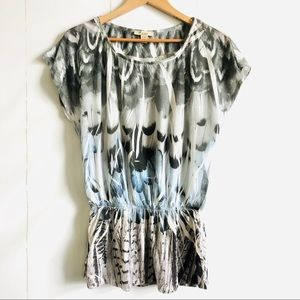 Forever 21 Feather Print Peplum Top
